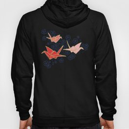 Red origami cranes on navy blue Hoody