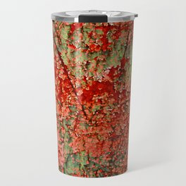 Abstract Red Rust on Green Paint Travel Mug
