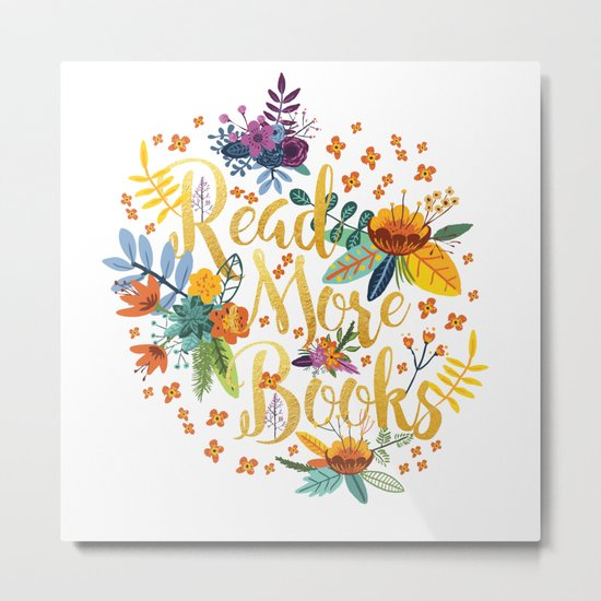 Read More Books - Floral Gold Metal Print