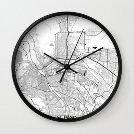 El Paso Map Gray Wall Clock