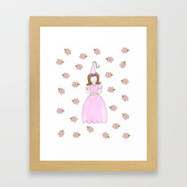 Pink Princess Brunette Framed Art Print