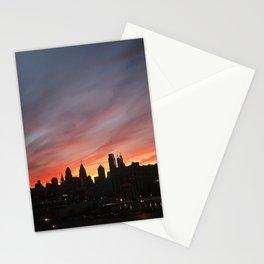 philadelphia skyline at sunset Stationery Cards