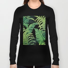 Green tropical leaves II Long Sleeve T-shirt