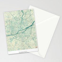 Nantes Map Blue Vintage Stationery Cards