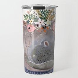 Hippo with flowers on head Travel Mug