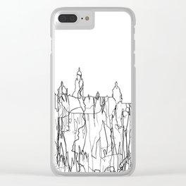 Glasgow, Scotland UK Skyline B&W - Thin Line Clear iPhone Case