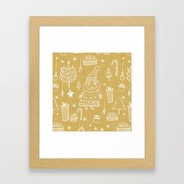 Santa Workshop Beige Framed Art Print