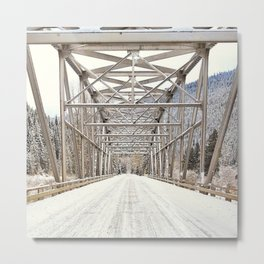 Snow Covered Bridge Metal Print