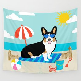 Tri Corgi Sandcastles Summer Beach Day sun corgi art tricolored corgi dog Wall Tapestry