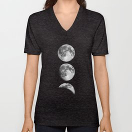 Phases of the Moon print black-white monochrome new lunar eclipse poster home bedroom wall decor Unisex V-Neck