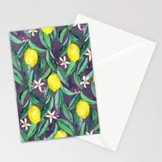 When Life Gives You Lemons - grey purple Stationery Cards