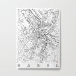 Basel Map Line Metal Print