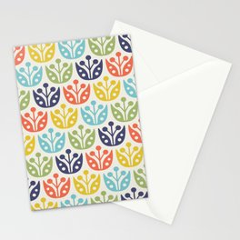 Mid Century Flower Pattern multicolored Stationery Cards