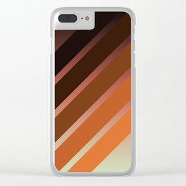 Brown Colored Retro Stripes Clear iPhone Case