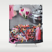 religion Shower Curtains featuring Pink it's a Religion by Kristina Haritonova