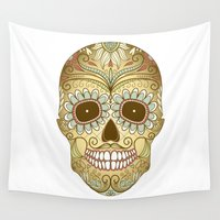 day of the dead Wall Tapestries featuring Day of the Dead by Sarah Harris (Lily and Vine Ltd)