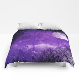 Nightsky with Full Moon in Ultra Violet Comforters