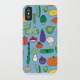 Cute Smiling Happy Veggies on blue background iPhone Case