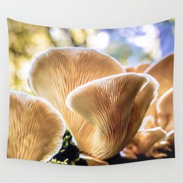 Chanterelle mushrooms in the forest Wall Tapestry