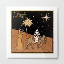 Christmas Nativity - Donkey Amanya Design Metal Print
