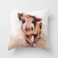 pig Throw Pillows featuring Pig by Bridget Davidson