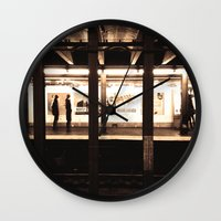 rush Wall Clocks featuring Rush Hour by Brown Eyed Lady