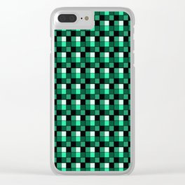 Emerald Ring Blocks, Checkered Pattern - Jade Clear iPhone Case