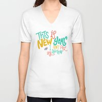 new year V-neck T-shirts featuring New Year by Chelsea Herrick