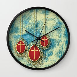 Beautiful Gold Crosses on a pale blue and yellow texture Wall Clock