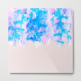 Girly Pastel Pink and Blue Watercolor Paint Drips Metal Print