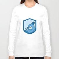 hercules Long Sleeve T-shirts featuring Hercules Wielding Club Shield Retro by patrimonio