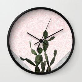 Cactus on Concrete and Pink Persian Mosaic Mandala Wall Wall Clock