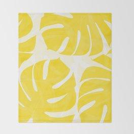 Mellow Yellow Monstera Leaves White Background #decor #society6 #buyart Throw Blanket