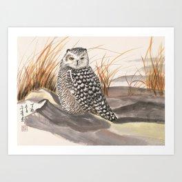 sleepy snow owl Art Print