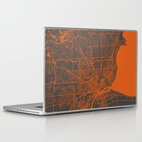 detroit Laptop & iPad Skins featuring Detroit map by Map Map Maps