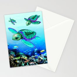Sea Turtles Dance Stationery Cards