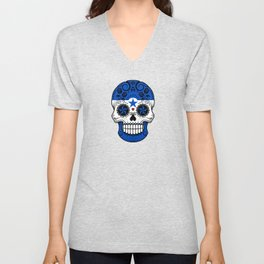 Sugar Skull with Roses and Flag of Honduras Unisex V-Neck