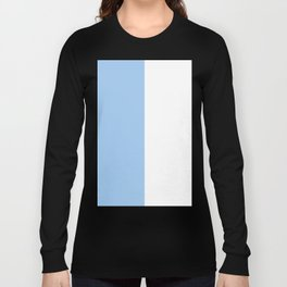 White and Baby Blue Vertical Halves Long Sleeve T-shirt