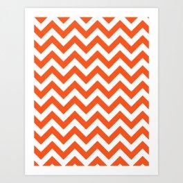 Chevron Print in Orange Art Print