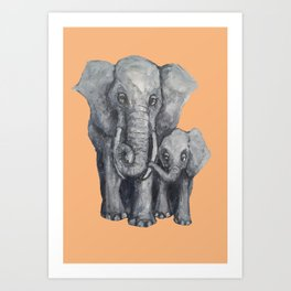 Elephant Parent and Calf (light terracotta) Art Print