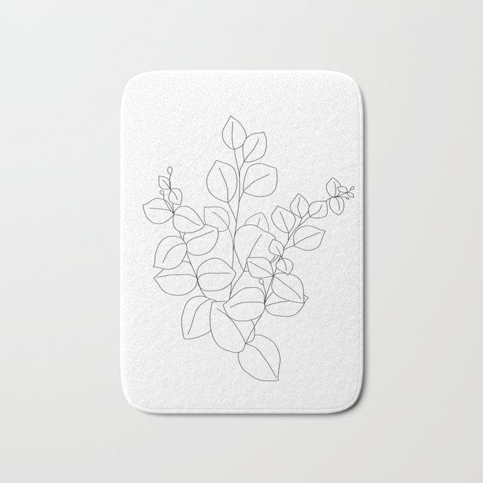 Minimalistic Eucalyptus  Line Art Bath Mat