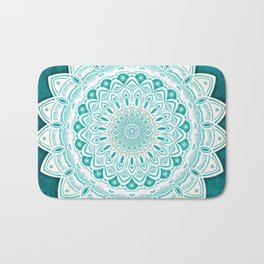 White Mandala on Blue Green Distressed Background with Detail and Textured Bath Mat