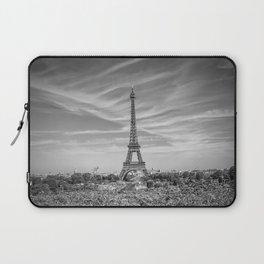 PARIS Eiffel Tower with skyline   monochrome Laptop Sleeve