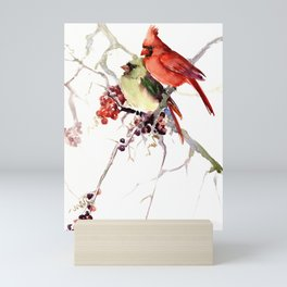 Cardinal Birds, birds art, two bird artwork cardinal bird Mini Art Print