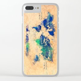 world map oceans and continents 4 Clear iPhone Case