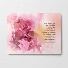 Serenity Prayer Quince Fence 3 Pink Metal Print