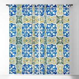 Seamless Floral Pattern Ornamental Tile Design : 6  blue, yellow Blackout Curtain