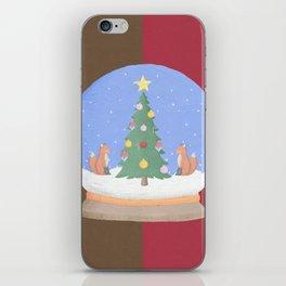 Snow Globe Christmas Tree Foxes iPhone Skin