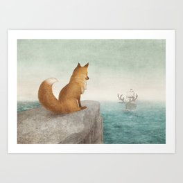 The Day the Antlered Ship Arrived Art Print