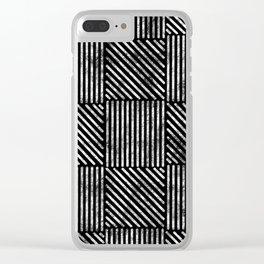 Black and White Distressed Diagonal Lines Pattern Vintage Unique Artistic Style Design Clear iPhone Case
